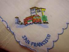 Vintage San Francisco Ladies Handkerchief Hankie Embroidered Trolley
