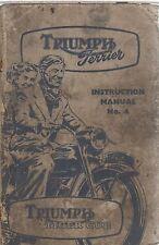 TRIUMPH TERRIER & TIGER CUB ORIG. 1955 FACTORY INSTRUCTION & MAINTENANCE MANUAL