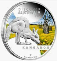 2013 Discover Australia - Kangaroo Colorized 1oz .999 Proof Silver - Box & COA