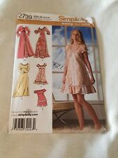 Simplicity 2739 Peasant Dress Top Gown Robe Shorts Sewing Pattern Size XS-S-M