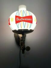 1960's Budweiser Budweiser Beer Brass Wall Globe Sconce Lighted Bar Lamp Sign