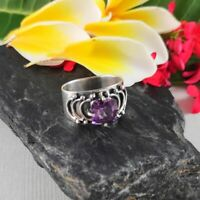 925 Silver Solid Sterling Handmade Rings Natural Faceted Amethyst Ring Jewelry