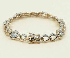 """7.5"""", gold over Sterling silver tennis bracelet, 925 w/ sapphire N crystal"""