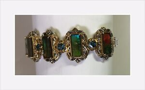 Stunning Ammolite Bracelet Sterling Silver With Gold Accents