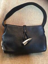 BURBERRY Black Leather Haymarket Ba
