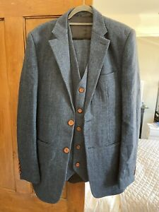 Victor Valentine Mens Tailored Suit 3 Piece Jacket Waistcoat Trousers Blue Tweed