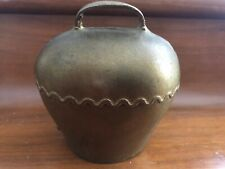 Unusual Antique Brass Cow Bell