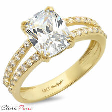 3.40CT Engagement ring Simulated Cushion cut 14K Yellow Gold Bridal Jewelry