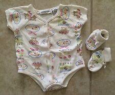 ☀️ First Impressions Baby Girl Cherries Flower One Piece Bodysuit & Booties 6-9M