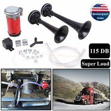 Air Horn Dual Trumpet Truck Super Loud 12V Train Car Kit Compressor 115DB Boat