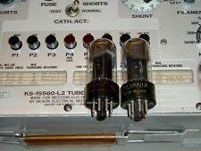 2 TUBES 6V6GT Sylvania chrome dome smoke glass black plate USA strong matching