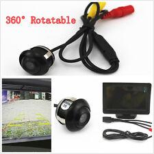 "Waterproof 360° Rotatable Wide Angle Car Reverse Camera 4.3"" TFT  Monitor Screen"