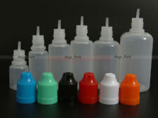 100Pcs 3-50ml Empty Plastic Childproof Cap Liquid Dropper Bottles LDPE