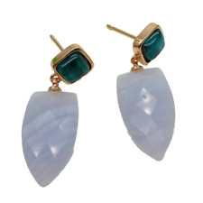 Blue Natural Chalcedony Green Agate Stud Earrings