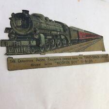 UNUSUAL 13cm TINPLATE EMBOSSED TRANS CANADA LTD TRAIN MODERN BOY1928 C.P.R