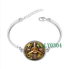 Steampunk Aviator glass cabochon Tibet silver bangle bracelets wholesale