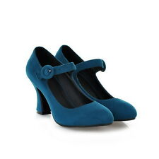 Lady Velvet High Heel Mary Janes Sweet Candy Spring Court Shoes High Block Heels