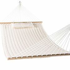 """Hammocks 55"""" Double Quilted Fabric Hammock Swing with Pillow Natural SHIPS FREE"""