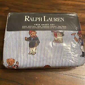Vintage Ralph Lauren Polo Bear Striped Twin Bed Sheet Set NEW In Package