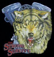 THE STRONG SURVIVE WOLF MOTORCYCLE V-TWIN ENGINE BIKER SWEATSHIRT ZIP HOODIE 205