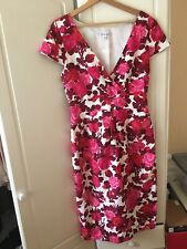 Beautiful LK Bennett Silk And Cotton Floral Summer Dress Size 14 Vgc!