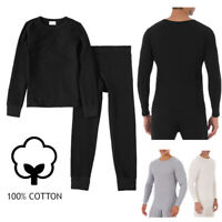 Men 100% Cotton Waffle Knit Thermal Long Johns Underwear Top & Bottom 2PCs Set