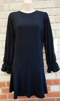 NEW LOOK BLACK LONG SLEEVE SMOCK A LINE SLIP FORMAL CASUAL TEA DRESS 10 S