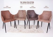 Zarah Faux Leather Armchair Dining Chair Brown Chocolate Latte Mocha Eiffel UK
