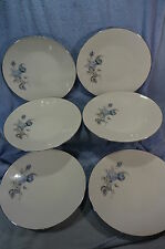 "Hutschenreuther Alicia Blue Rose 6- 10 5/8"" Dinner Plates Lot of 6 Plates"