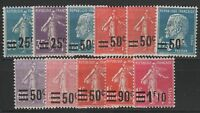 "FRANCE STAMP YVERT # 217 / 228 "" COMPLETE SET 11 VALUES 1926-1927 "" MH VF"