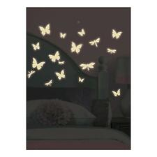 BUTTERFLIES & DRAGONFLIES wall stickers 80 GLOW IN DARK decals WHITE scrapbook