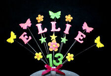 Personalised Flower and butterfly Birthday Cake Topper