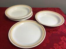 Corelle discontinued Almond Tan Rimmed Soup Bowls Luncheon Plates 4 Each EUC
