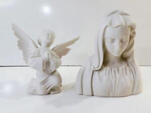 Vintage BOEHM Bisque Porcelain MADONNA & ANGEL FIGURINES