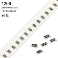 50Pcs 1206 SMD/SMT Resistors ±1% 1/4W ( 0.01Ω to 20MΩ ) -Full Range of Values