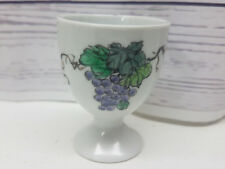 """Vintage 2 1/4"""" Hand Painted Egg Cup Wine Purple Grapes Grape Cluster Collectible"""