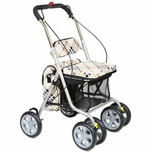 Cielo Stroller 4 Wheel Lightweight Trolley Rollator with Storage Bags and Seat