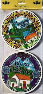 St. Brigid's Cross & Bless This Home (4 Pce) Celtic Coaster Set (K03)