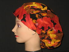 Surgical Scrub Hats/Caps Autum Fall  Leaves Vivid colors Apples  & Acorns
