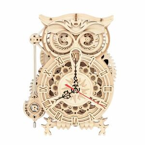 Owl Clock Robotime DIY 3D Wooden Model Kit Woodcraft Puzzle Kit Gift UK Stock
