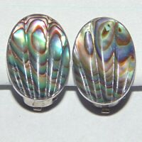 Vintage sterling silver carved abalone shell mother of pearl oval clip earrings