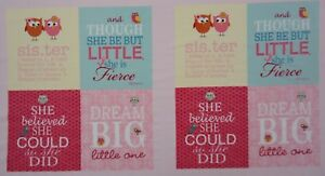 QUILT FABRIC BABY SISTER by CLOTHWORKS 100% COTTON INSPIRATIONAL FABRIC PANEL