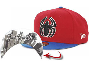 Spiderman Marvel Comic Men's New Era 59FIFTY Undertone Fitted Hat Cap - Red/Blue