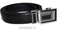 Men's Leather Dress Belt (1X) Auto Lock belt, Men's Black Quick lock BR New belt