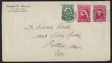CANADA NEWFOUNDLAND 1927 TRICOLOR FRANKING ST JOHNS NEAT MACHINE CANCEL ON COVER