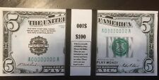 $100 In Play Money 1928 $5 Bills 20 Pcs. Prop Money USA Bundle Actual Size