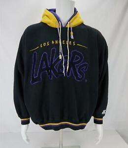 VTG Starter Los Angeles Lakers Double Hoodie Sweatshirt Embroidered Men's XL