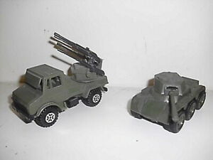 2 Unusual Guisval Plastic Large Scale Army Vehicles, Unimog & Saladin