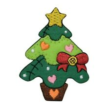 Patchwork Christmas Tree - Star/Hearts/Bow - Iron on Applique/Embroidered Patch