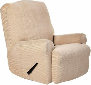 sure fit  Stretch Royal Diamond One Piece Recliner Slipcover cream NEW B